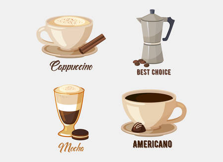 Cup of cappuccino coffee on saucer and coffee pot or kettle, mocha and americano or espresso with chocolate and sticks. Illustration
