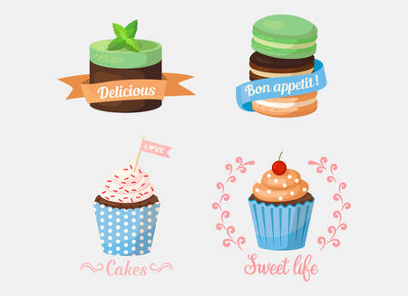mint leaf: Dessert cake and sweetie cupcakes, pastry with mint leaf on top and ribbons saying delicious and bon apetit, love.