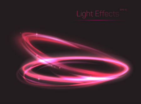 radiance: Pink neon ovals or circles for light effect background. Swirl shiny rings made of plasma particle radiance. Can be used for luminosity template or abstract background for brochure, poster