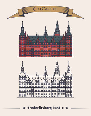 history building: Denmark Frederiksborg old medieval castle. Danish or scandinavia Museum of national history building architecture facade view with text on ribbon. May be used for history or stronghold theme Illustration