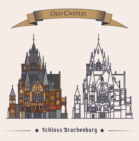 stronghold: Schloss Drachenburg castle building at konigswinter. Facade of construction or structure as gothic symbol, retro mansion with exterior view, old stronghold badge or symbol. Historical theme Illustration