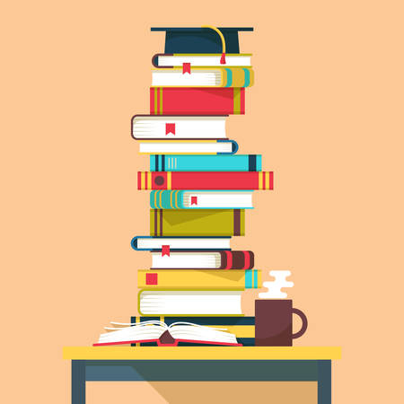 Pile or tower, stack or heap of books for school education and square academic cap with tassel above on table. Great for study and reading, literature and learning, intelligence and science theme