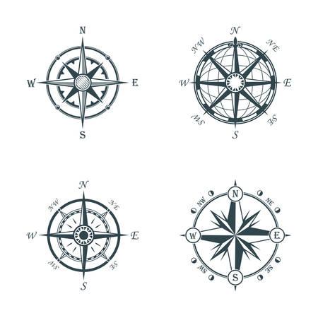 topografia: Conjunto de estilo diferente de época o edad gusto del globo y las flechas brújulas para este y el oeste, el norte y el sur de navegación. Perfecto para marina y náutica, la nave y la topografía, el tema marítimo