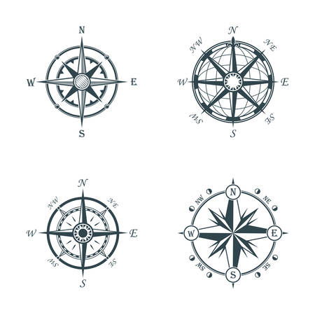 topography: Set of vintage or old different style like globe and arrows compasses for west and east, north and south navigation. Perfect for marine and nautical, ship and topography, maritime theme