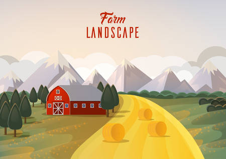 agribusiness: Farm landscape panorama with wheat field and mountain, barn on field and trees. Agribusiness farmhouse or season ranch near garden. Ideal for rural banner or village, farming emblem Illustration