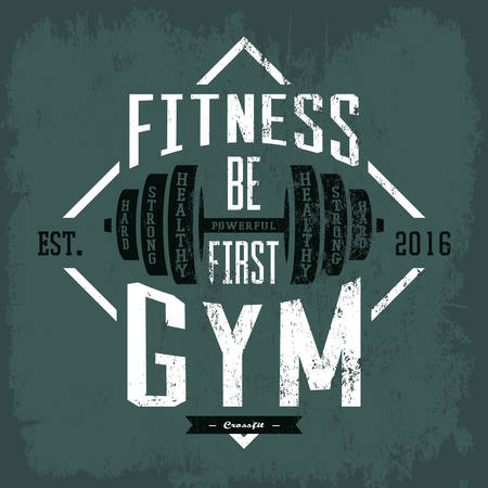health club: Dumbbell or barbell, rod or weight print on sportswear cloth. Gym or gymnasium, fitness center advertising on t-shirt or other sport equipment or accessories.For health club or athletic activity theme Illustration
