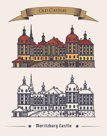history building: Moritzburg germany castle in saxony exterior or outdoor view. Retro baroque architecture of schloss palace or building. Can be used for old or vintage landmark or history book theme