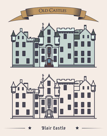 duke: Scotland Blair castle vintage or retro architecture exterior. Construction or structure with citadel, mansion for duke. Perfectly fit for old landmark or heraldic monument, historical britain theme