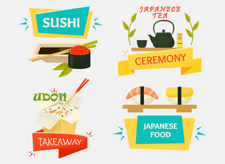 fried noodles: Uramaki sushi with wasabi sauce, japanese makizushi with chopsticks and tea kettle with cups for ceremony, udon soup or rice noodle. Good for traditional kitchen banner or seafood restaurant logo Illustration