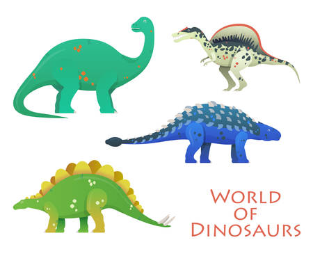 Prehistoric or jurassic dinosaurs or dino. Brachiosaurus and brachiosauridae, stegosaurus and spinosaurus, saichania or beautiful one, brontosaurus excelsus. For zoology or history theme
