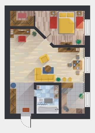 interior plan: Apartment or flat, house or floor plan design top view. Planning or designing studio and bedroom, dining room and kitchen, bathroom and storeroom, hall and private cabinet. For architect theme