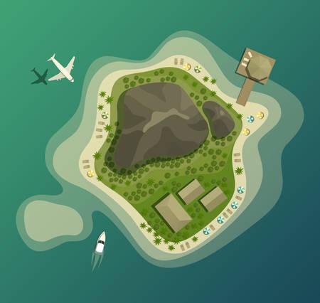 Isla o isla con playa y montaña o volcán, casa o bungalow, la madera o el bosque, el paraguas en la playa de arena, avión y barco o superior vista aérea. Bueno para el turismo y las vacaciones de verano, tema del recorrido