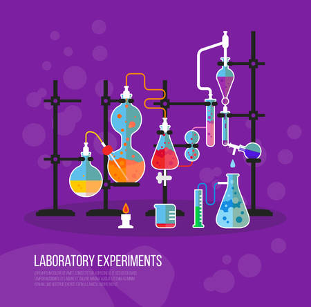 experiments: Experiment chemistry glassware flask with tubes. Bottle with liquid for laboratory or lab chemical experiment at school or medical analysis. May be used for science or biology, learn theme Illustration