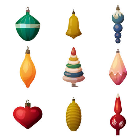bleak: 2017 fir-tree decoration baubles and bokeh ornament. New year and merry christmas or xmas glassware tree heart and bell, cone decorations. Ideal for greeting postcard and celebration poster