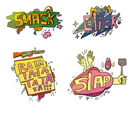 smashing: Set of comix cartoon exclamations. Smack for crushing or smashing fruit with foot, cloud click for fingers on mouse, weapon rifle or machine gun rata ta for shooting, slap for clap hands or swatter