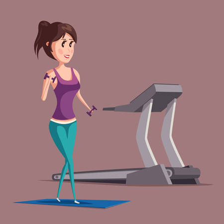 weight machine: Woman or girl doing weight exercise with dumbbell or barbell on carpet near treadmill. Sportswoman or female at muscle workout. For healthy lifestyle banner or sport club logo, aerobics badge Illustration