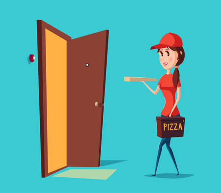 apartment bell: Girl worker in cap delivering pizza to door with ring or bell. Adult woman in hat uniform holding pizza box near apartament. Good for pizzeria service banner or restaurant logo