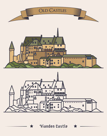 romanesque: Luxembourg Vianden old castle on mountain with ribbon on top. Romanesque and renaissance architecture of castle or palace. Exterior or outdoor view on building. Historical book medieval illustration Illustration