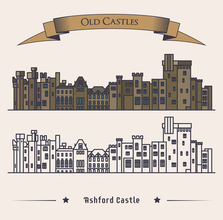 old building facade: Victorian Irish castle exterior view. Luxury hotel or landmark, retro or old architecture exterior view, vintage medieval facade of building. For historical book illustration or heraldic castle badge