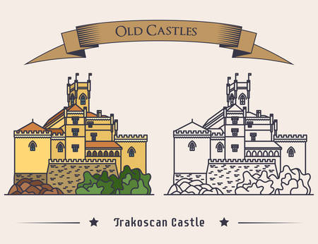 baroque gate: Exterior view on Trakoscan old castle illustration. Vintage medieval architecture sign or palace banner, mansion logo or ancient fort. May be used for landmark logo or historical book Illustration