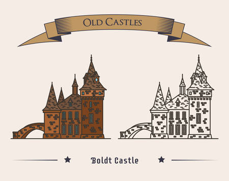 old new york: Boldt castle on heart island for tourist attraction. Exterior or outdoor view on old american or USA castle or monument with ribbon on top. May be used for travel or history, new york castle theme Illustration