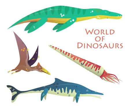 jurassic: Flying and swimming dinosaurs and prehistoric reptile or lizard. Plesiosaurs or liopleurodon, pterodactyloidea or lophochroa, baculite or squid, nothosaurus. For jurassic dino and prehistoric theme