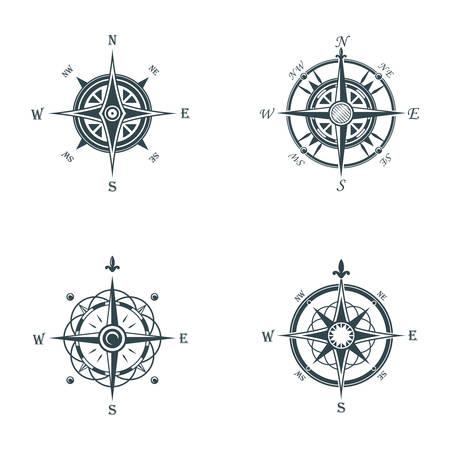 Rosa de los vientos: compás de la navegación antigua náutica o marina. Mar o el océano o el viento de la vendimia retro subieron por dirección o longitud o latitud medida. Puede ser utilizado para la cartografía o icono de signo de los viajes, la aventura de placas