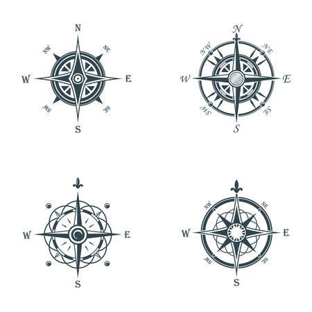 latitude: Nautical or marine old navigation compass. Sea or ocean vintage or retro wind rose for direction or longitude or latitude measure. May be used for cartography icon or travel sign, adventure badge
