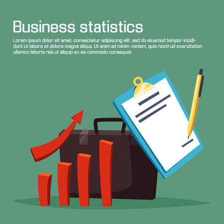 case sheet: Business statistic or analytics with charts. Growth or increasing of bar graph or diagram with arrow, pen writing on sheet of paper. May be used for economy and business plan, deposit investor theme Illustration