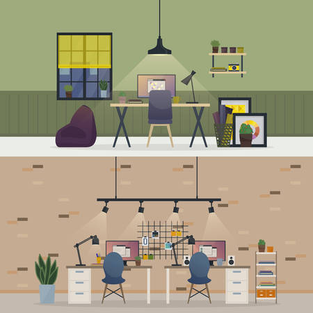 windows home: Basement office, flat or room workspace interior. Apartment with table and chair, vase with plants and book on bookshelf, monitor with report windows, stickers on wall, lamps. Freelance home job theme