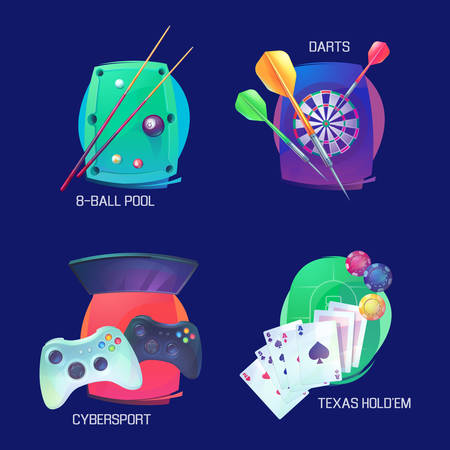 indoor sport: Billiard or pool, darts and video or poker game sports logo. Texas holdem or professional sport card game logo, cybersport with joystick equipment, sport throw game and casino logo, sport icons Illustration