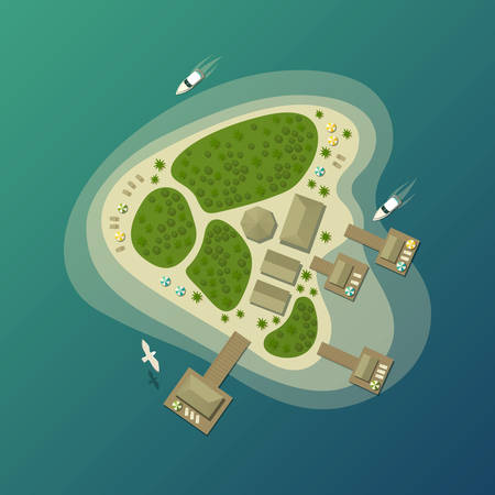 ocean view: Tropical island beach or paradise isle top view. Lagoon and bay on island with bungalow, isle in sea or ocean. May be used for summer travel agency theme and island or isle tourism logo or banner