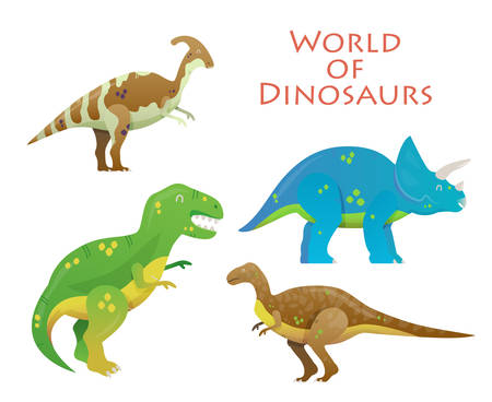 paleontology: Cartoon dinosaur or reptile animal, prehistoric dino. Tyrannosaurus rex or t-rex and Triceratops, Velociraptor and Parasaurolophus lizard. For dinosaur illustration and extinct dinosaur paleontology
