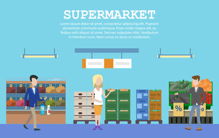 aisle: Supermarket with food and people or buyers. Supermarket aisle of grocery store or shop, market stall or counter. Indoor supermarket shelf. May be used for goods or supermarket interior row theme
