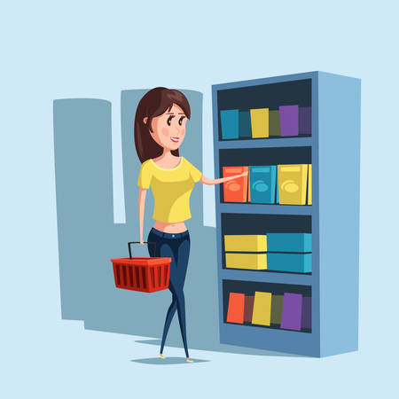 female girl: Woman or girl shopping at supermarket with basket. Girl choosing goods at store or shop, cartoon woman or female buy or purchase products. For woman consumer logo and girl or woman shopping banner Illustration