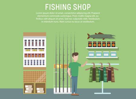 hook like: Sport or hobby fishing shop interior. Supermarket with fishing accessories or items. Fish equipment like float and hook, fishing rod or spinner. For mall or fishing store or shop banner Illustration