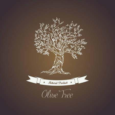 food ingredient: Greece olive tree logo with branches, vegetarian food. Olive grove banner or badge, olive oil sticker for bottle. May be used for vintage greek olive tree emblem, sign, liquid of olive tree ingredient