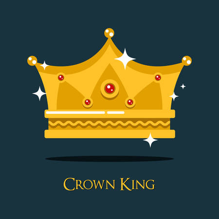 majesty: Royal crown for king or princess, queen gold tiara. Monarch imperial crown symbol of majesty and royalty, luxury gold prince crown emblem. May be used for old or vintage crown theme Illustration