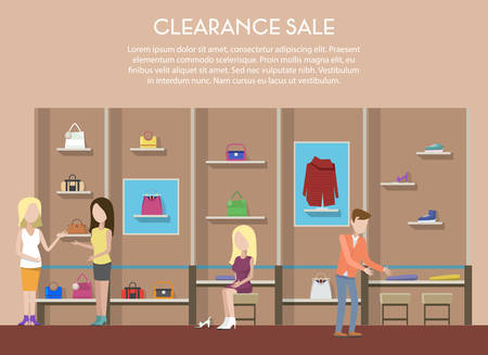boutique display: Shop with clothes or store interior, clearance sale with cloth and shoe or boots on counter for retail sale. Women or woman bag in shop interior. For retail store logo or shop badge, illustration