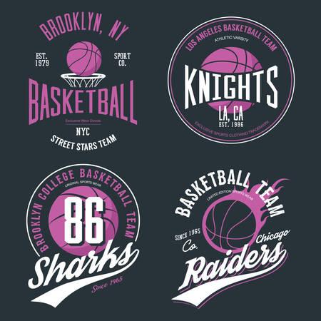 バスケット ボールやスポーツ ゲームの t シャツ デザイン。ニューヨーク チーム スポーツウェア エンブレム、アメリカのバスケット ボールやストリート ボールのテーマ、ネット、バスケット ボール スポーツ ゲーム t シャツの印刷のためのバナー