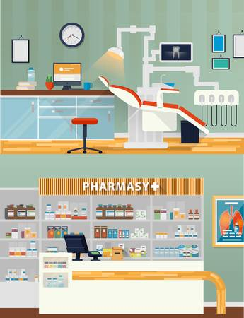 Dental room and pharmacy shop or store. Dental cabinet for stomatology and teeth care, drug store or shop. May be used for dental care and drug store interior view illustration Vettoriali