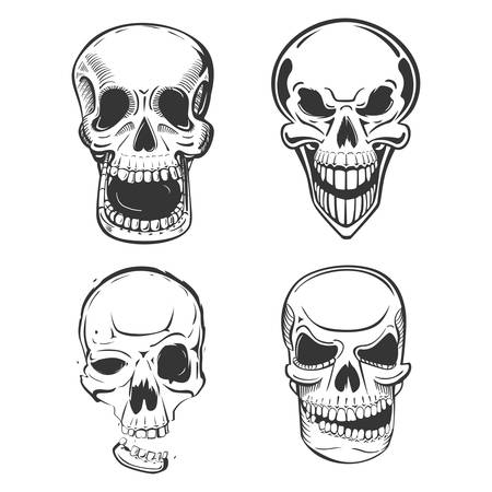 terrifying: Skull vector tattoo art in sketch style. Set of terrifying skull head with jaw and smirk. May be used for skull mascot or pirate skull head isolated, horror logo or dead human icon