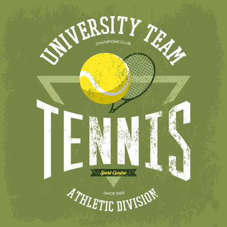 Racket with tennis ball for t-shirt logo with text university team. Sportswear design for tennis branding or tennis t-shirt print. May be used for sport theme or tennis championship theme Illustration