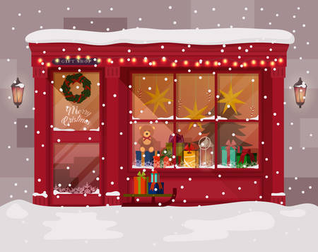 christmas market: Christmas gift or presents shop or store with advent wreath on door. Winter christmas or xmas, new year shopping mall for family. May be used for holiday christmas shopping or christmas market theme Illustration
