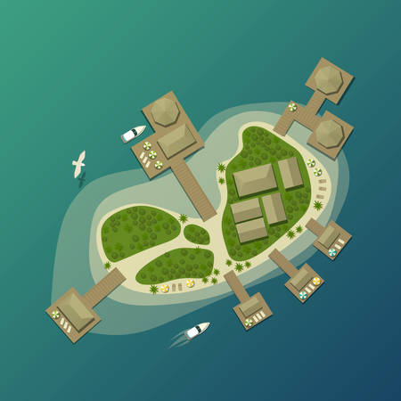 paradise bay: Island top view with tourist beach and umbrella. Tropical lagoon and bungalow on island with bay, tourism paradise island. Ideal for travel agency logo with tropical island, boats, forest on it