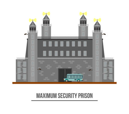 inmate: Prison exterior or jail building with towers and barbed wire. Maximum prison security with prisoner transport vehicle or car. Criminal jailhouse facade. Perfect for federal prison or arrest theme
