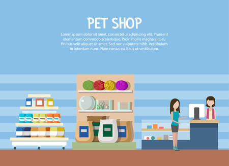 woman accessories: Pet store or shop interior with woman shopping. Aquarium and cat or dog rug at pet store, domestic animal food and pet accessories or supplies. May be used for pet shop banner or store sign