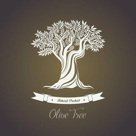 Árbol con las ramas de la baya del aceite de oliva. Natura fruta oliva para hacer líquida de aceite. Puede ser utilizado para el árbol de oliva en el logotipo de la tienda, pegatina de oliva botella de aceite o etiqueta, Grecia arboleda insignia, el tema de la agricultura