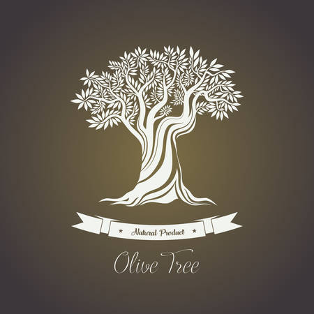 Tree with branches of olive oil berry. Natura olive fruit for making oil liquid. May be used for olive tree on shop logo, olive oil bottle sticker or label, greece tree grove badge, agriculture theme Illustration