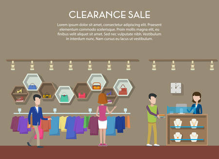 bijouterie: Clearance sale at shop or store, interior view. Cloth and shoes, jewelry or bijouterie on big clearance sale or event. May be used for clearance tag or shop banner, store badge or logo Illustration